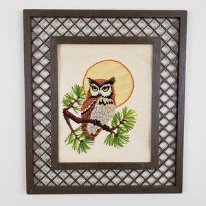 VTG Crewel Embroidered Owl Framed Picture 1981